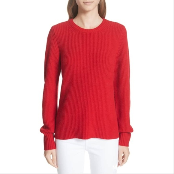 NWT Tory Burch red Kennedy Crewneck Ribbed Sweater